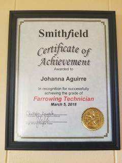 2018.03 Intern Johanna Guadalupe Aguirre's Certificate