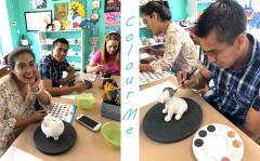 2018 September Swine Interns Doing Pottery Paint